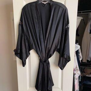 Victoria's Secret Black Satin and Lace Kimono Robe